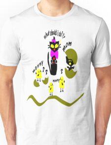 Funny kitty cat and bird vector art Unisex T-Shirt