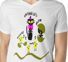 Funny kitty cat and bird vector art Mens V-Neck T-Shirt