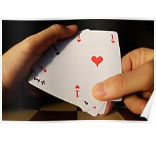 Man holding four Aces cards in hand Poster