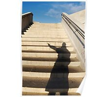 Man casting shadow on steps Poster