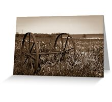 The wheels from an old farmland wagon Greeting Card