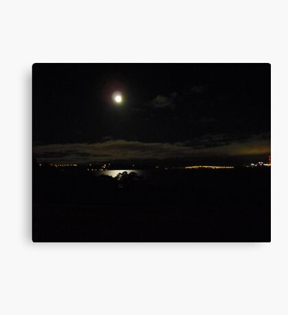Moon over Auckland Harbour Canvas Print