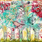 Bird on a White Picket Fence - Mixed Media  by Pip Gerard