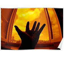 Man with outstretched hand by window Poster