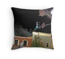 City Cafe Fire Night Shot #5 Throw Pillow