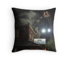 City Cafe Fire Night Shot #4 Throw Pillow