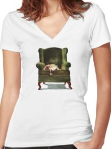 Monkey the Cat Women's Fitted V-Neck T-Shirt