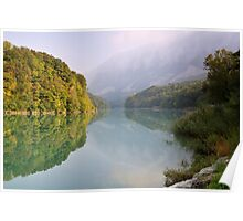 Mist and autumn colours on the Rhône river Poster