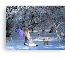 Yule Winter Faerie and Animals Canvas Print