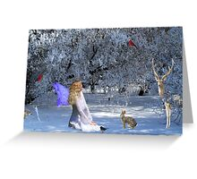 Yule Winter Faerie and Animals Greeting Card