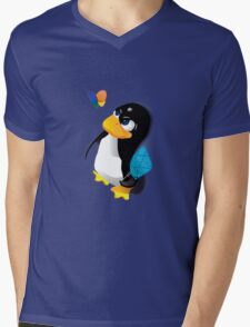 What are you doing, Tux? Mens V-Neck T-Shirt