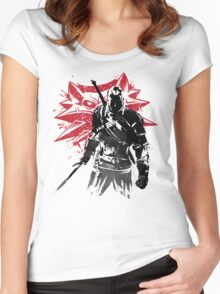 The Witcher sumi-e Women's Fitted Scoop T-Shirt