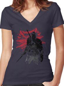 The Witcher sumi-e Women's Fitted V-Neck T-Shirt