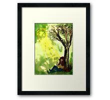 Reading is knowledge, watercolor Framed Print