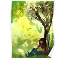 Reading is knowledge, watercolor Poster