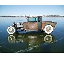 ol ratrod sitting on a frozen lake Photographic Print