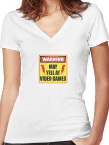 Gamer Warning Women's Fitted V-Neck T-Shirt