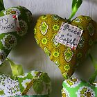 Acid Green Christmas Hearts by suburbanjubilee