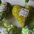 Acid Green Christmas Hearts by suburbanjubilee