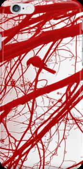 Red Bird in Red Tree by Kitsmumma
