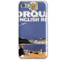 Torquay Vintage Travel Poster Restored iPhone Case/Skin
