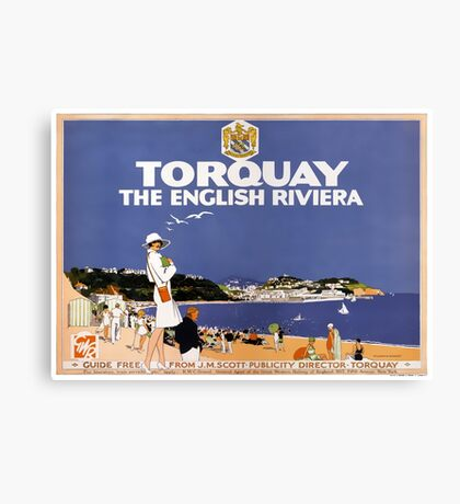 Torquay Vintage Travel Poster Restored Canvas Print