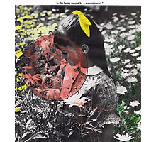 Girl with Flowers, Vintage Collage Photographic Print