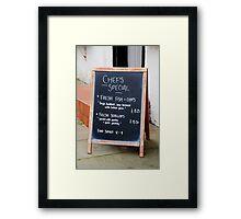 Pub menu sign, Rye Framed Print