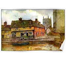 Beautiful Britain - An Old English Riverside Scene, Tewkesbury, Gloucestershire Poster