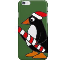 Cool Funny Penguin Holding Candy Cane Christmas Art iPhone Case/Skin