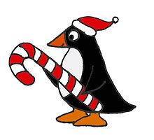 Cool Funny Penguin Holding Candy Cane Christmas Art by naturesfancy