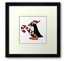 Cool Funny Penguin Holding Candy Cane Christmas Art Framed Print