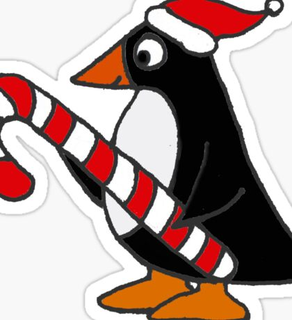 Cool Funny Penguin Holding Candy Cane Christmas Art Sticker