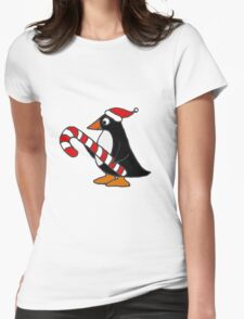 Cool Funny Penguin Holding Candy Cane Christmas Art Womens Fitted T-Shirt