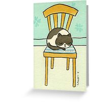 Black and White Cat Sleeping on a Chair  Greeting Card