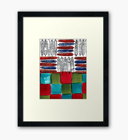 Indian Feather Leaves in Color Blocks Framed Print
