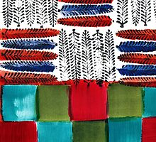 Indian Feather Leaves in Color Blocks by Natalie Bester
