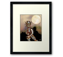 Wolfman and Full Moon Framed Print