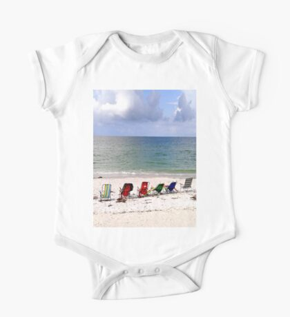 Beach Chairs Facing the Gulf of Mexico, Sunset Beach, Florida One Piece - Short Sleeve