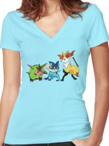 pokemon starter 4 Women's Fitted V-Neck T-Shirt