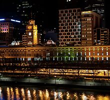 2250 Flinders Street Station Lights Up by Norman Repacholi