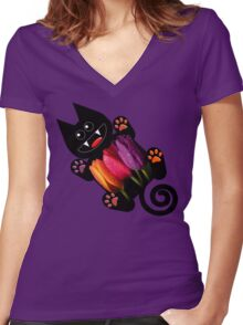 KITTEN 7/10 Women's Fitted V-Neck T-Shirt