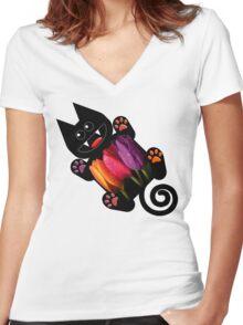 KITTEN 7/10 Women's Fitted V-Neck T-Shirt