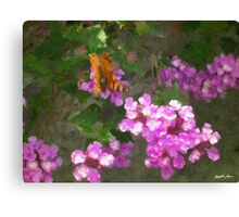 Lantana and Butterfly Canvas Print