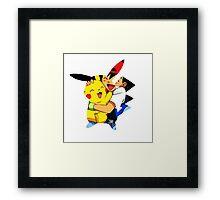 pikachu and ash Framed Print