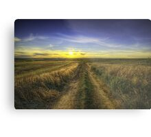 Sunset Over Country Road HDR Metal Print