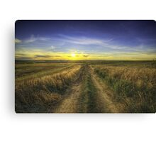 Sunset Over Country Road HDR Canvas Print