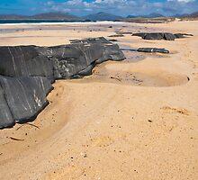 Landscape, Traigh Mhor beach, Finger of rock by Hugh McKean