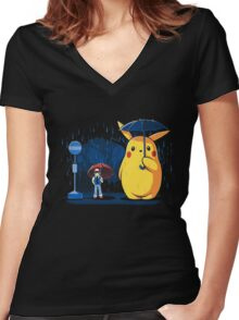 pokemon totoro scene Women's Fitted V-Neck T-Shirt