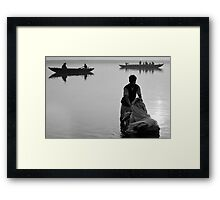 Washing in the Ganges river Framed Print